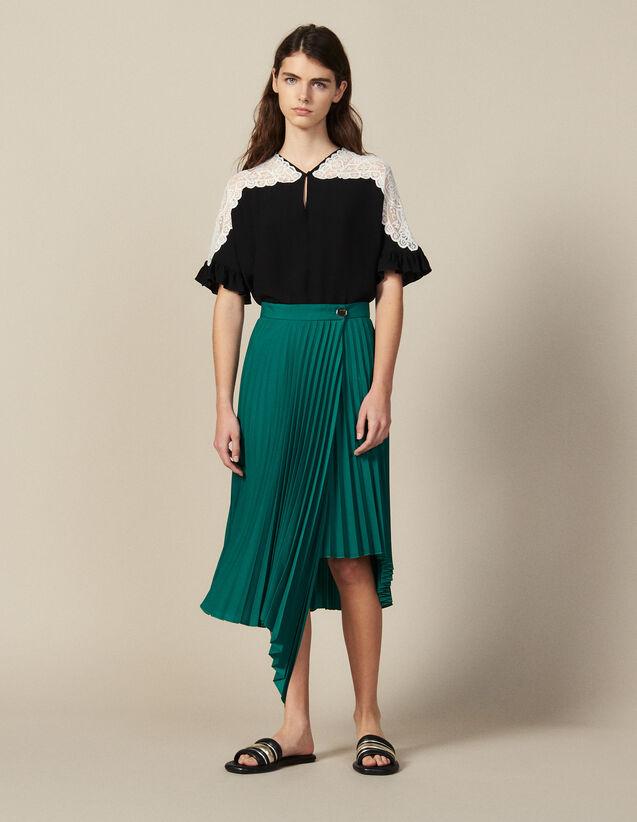 Jupe Portefeuille Asymétrique Plissée : Jupes & Shorts couleur Vert