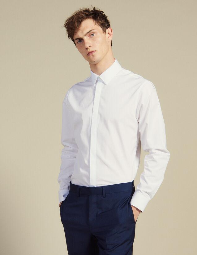 Chemise À Patte Cachée En Popeline : Chemises couleur Blanc