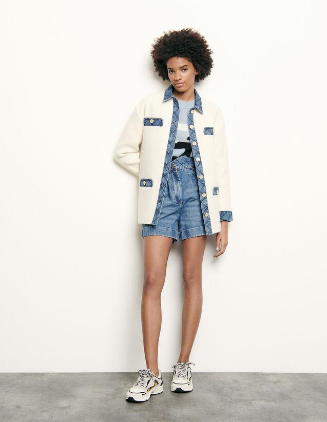 Veste en tweed  à empiècements en jean : Blousons & Vestes couleur Ecru