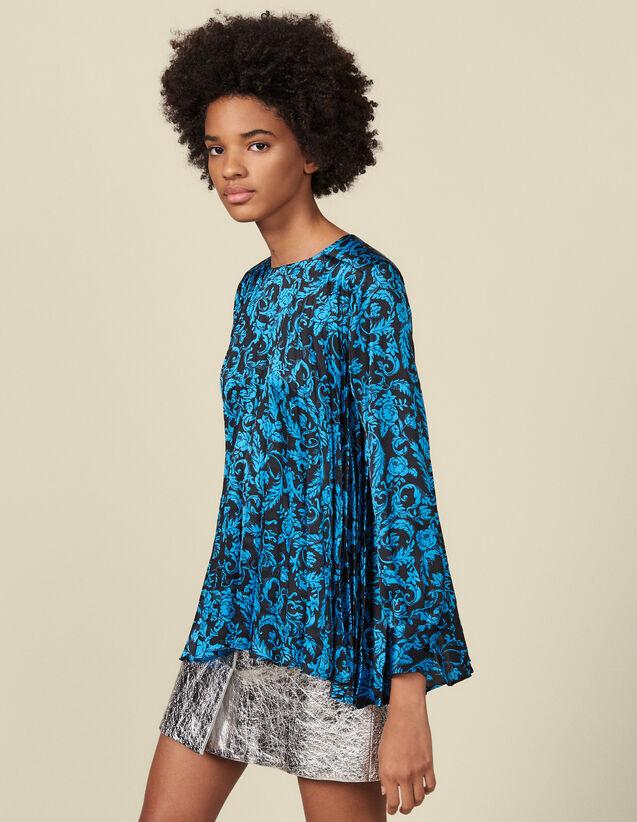 Top fluide plissé à imprimé : Tops & Chemises couleur Bleu