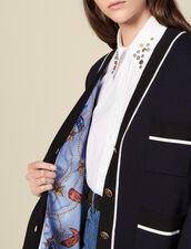 Cardi-coat à doublure imprimée : Pulls & Cardigans couleur Marine