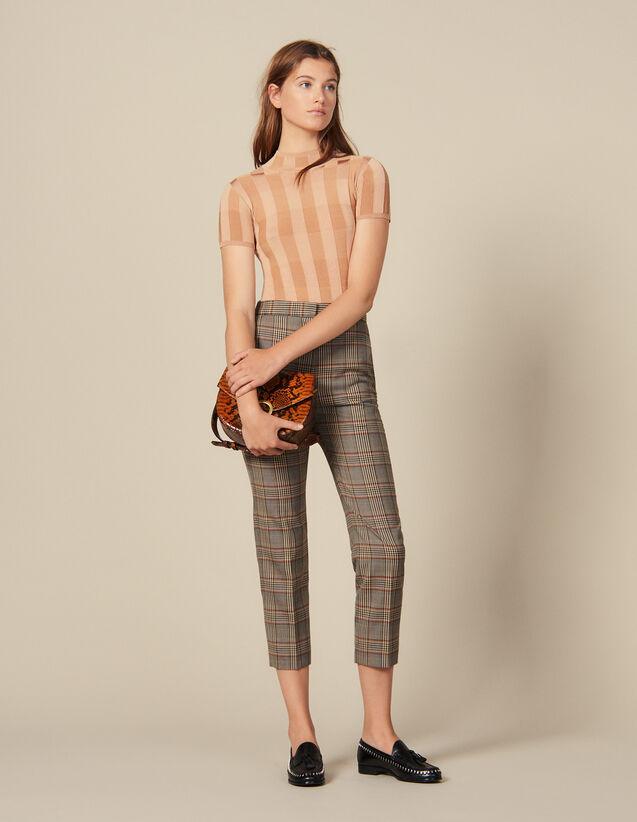 Pantalon Droit À Carreaux : Pantalons couleur Multicolore