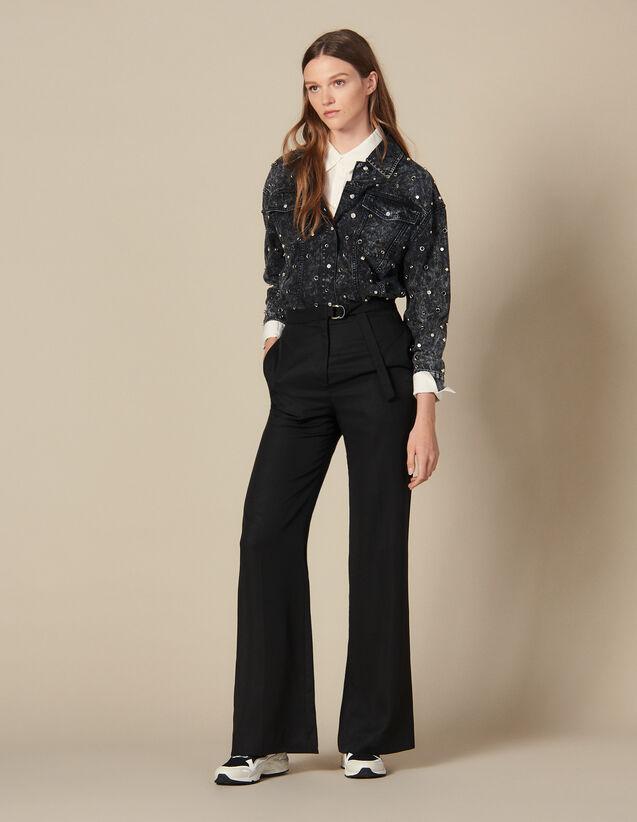 Pantalon Large Taille Haute : Pantalons couleur Noir