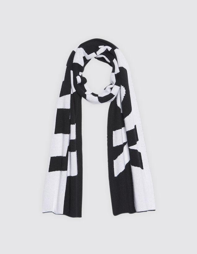 Echarpe à message en laine et cachemire   Foulards   Écharpes couleur Noir  Blanc 28b5350903c