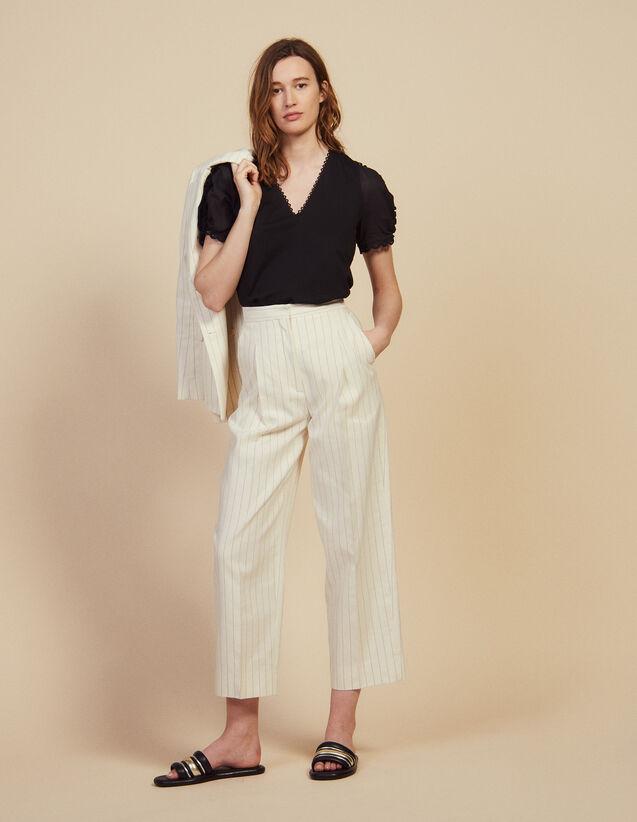 Pantalon De Tailleur Au Fit Large : Pantalons couleur Blanc