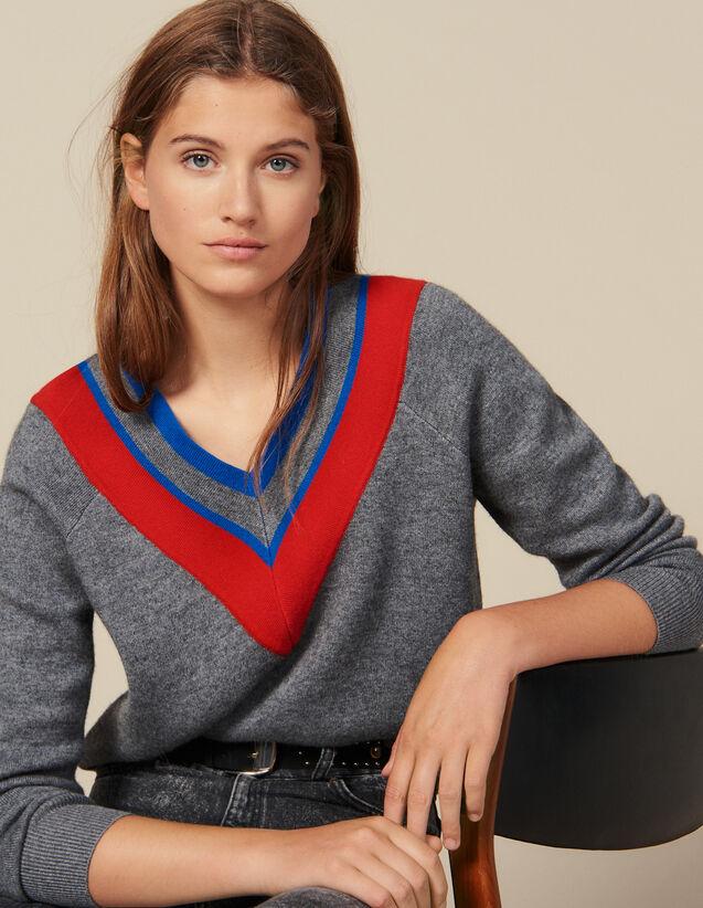 Pull Décolleté Avec Galon : Pulls & Cardigans couleur Gris