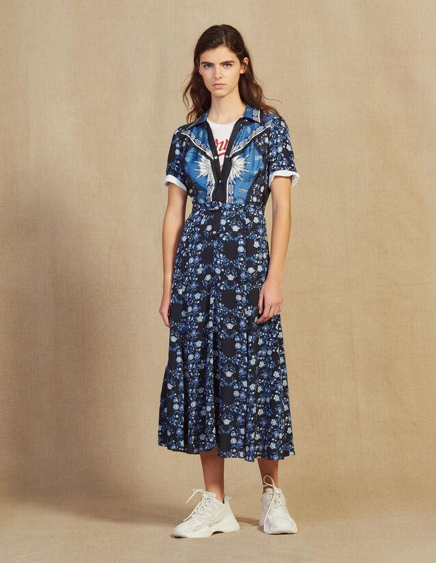 Robe Chemise Longue Fluide Imprimée : Sélection Last Chance couleur Bleu