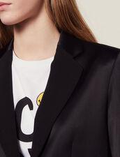 Veste De Tailleur Satinée Assortie : Blousons & Vestes couleur Noir