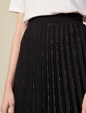 Jupe plissée à finition pailletée : Jupes & Shorts couleur Noir