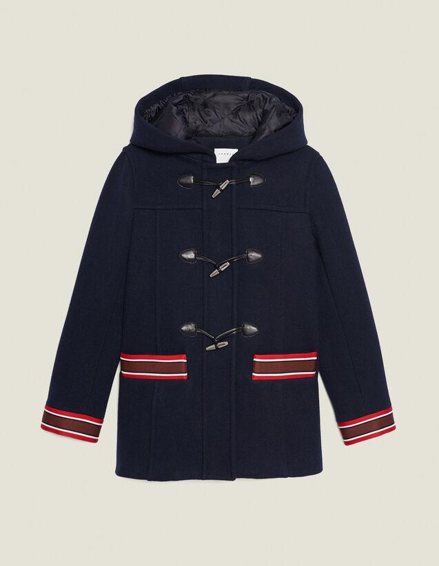 Manteau en laine à galons multicolores : Manteaux couleur Marine