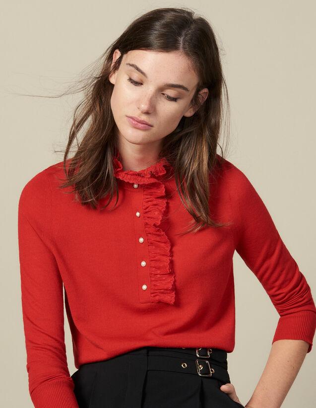 Pull Avec Tulle Au Col : Pulls & Cardigans couleur Rouge