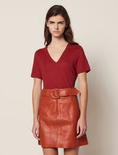 T-Shirt En Lin À Manches Courtes : LastChance-CH-FSelection-Pap&Access couleur Terracotta