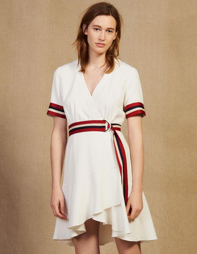 Robe Portefeuille Avec Bords Côtes : Robes couleur Ecru
