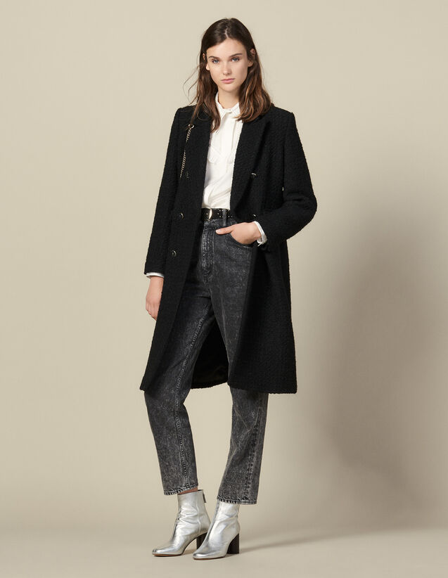 Manteau long ajusté en tweed : Manteaux couleur Noir