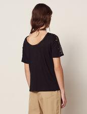 T-Shirt En Lin Avec Galons De Dentelle : T-shirts couleur Ecru