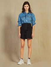 Jupe Courte Portefeuille Avec Volant : Jupes & Shorts couleur Noir