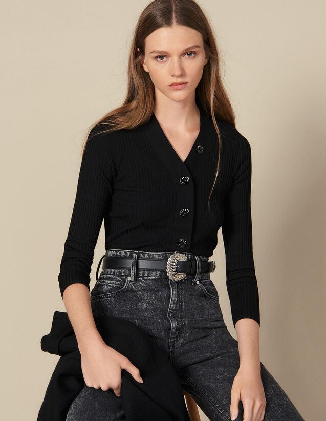 Cardigan en maille fine côtelée : Pulls & Cardigans couleur Noir