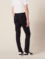 Pantalon De Costume En Laine Nattée : SOLDES-CH-HSelection-PAP&ACCESS-2DEM couleur Marine