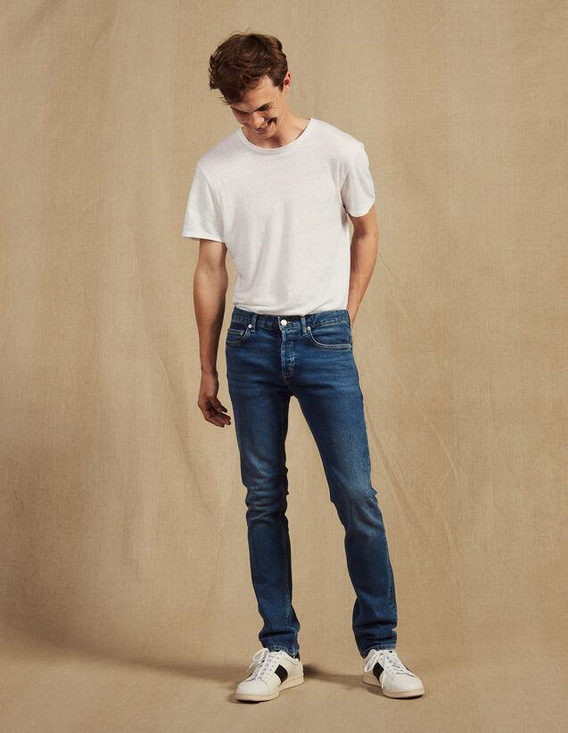 Jean Délavé - Coupe Slim : Jeans couleur Blue Vintage - Denim