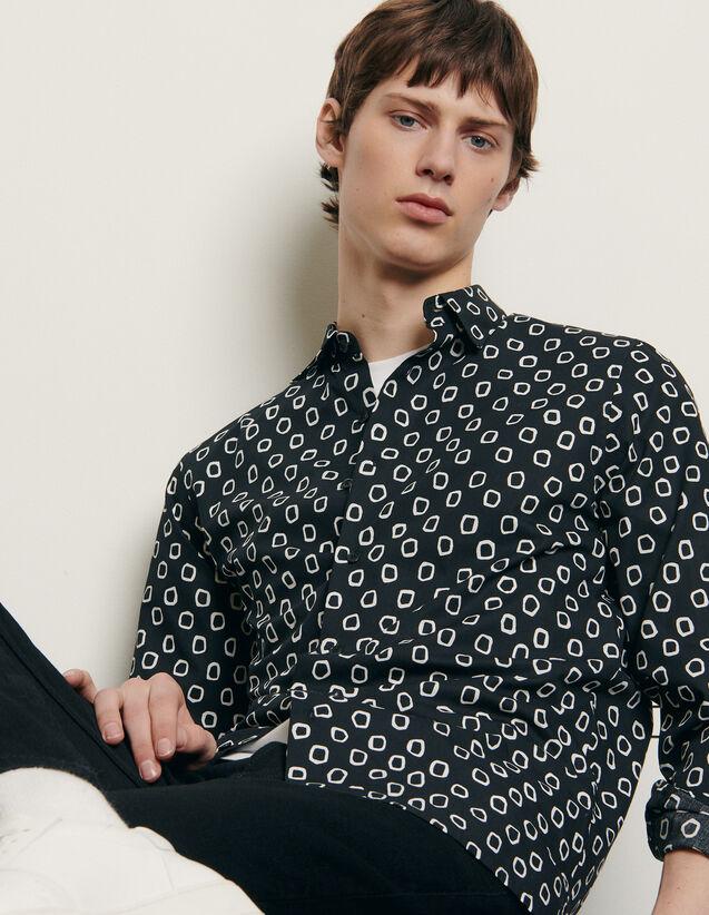 Chemise en coton imprimé : Chemises couleur Noir