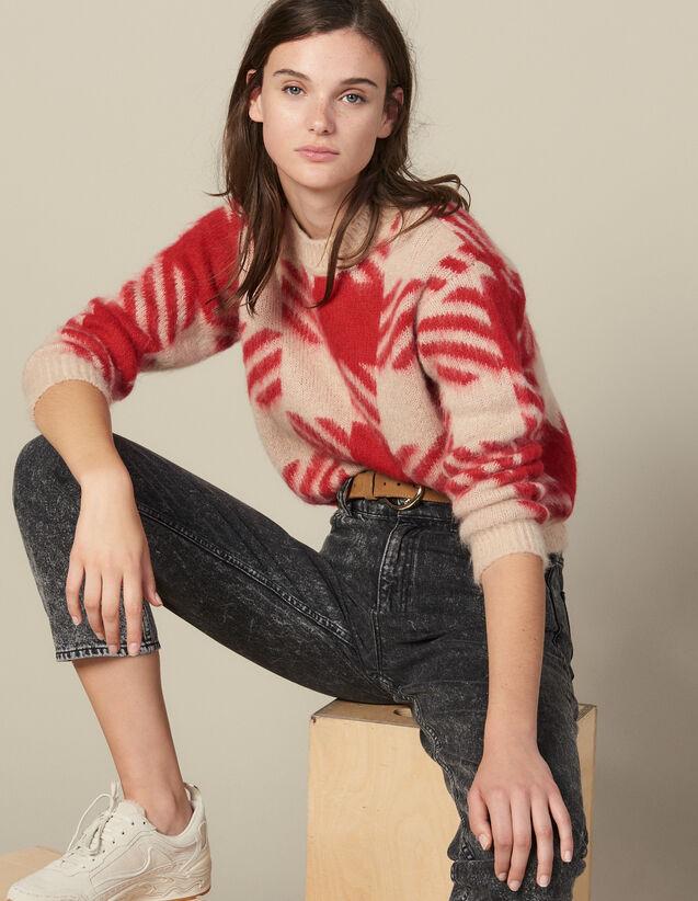 Pull Poilu En Jacquard Carreaux : Pulls & Cardigans couleur Rouge/Beige