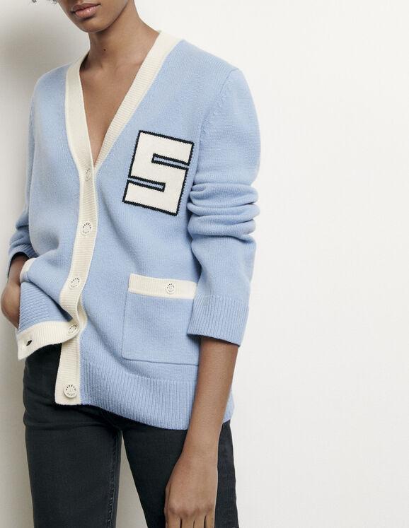 Cardigan en laine esprit collège : Pulls & Cardigans couleur Ciel