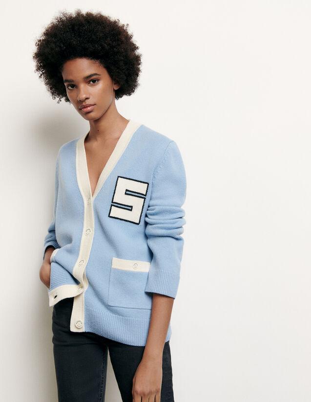 Cardigan en laine esprit collège : Collection Été couleur Ciel