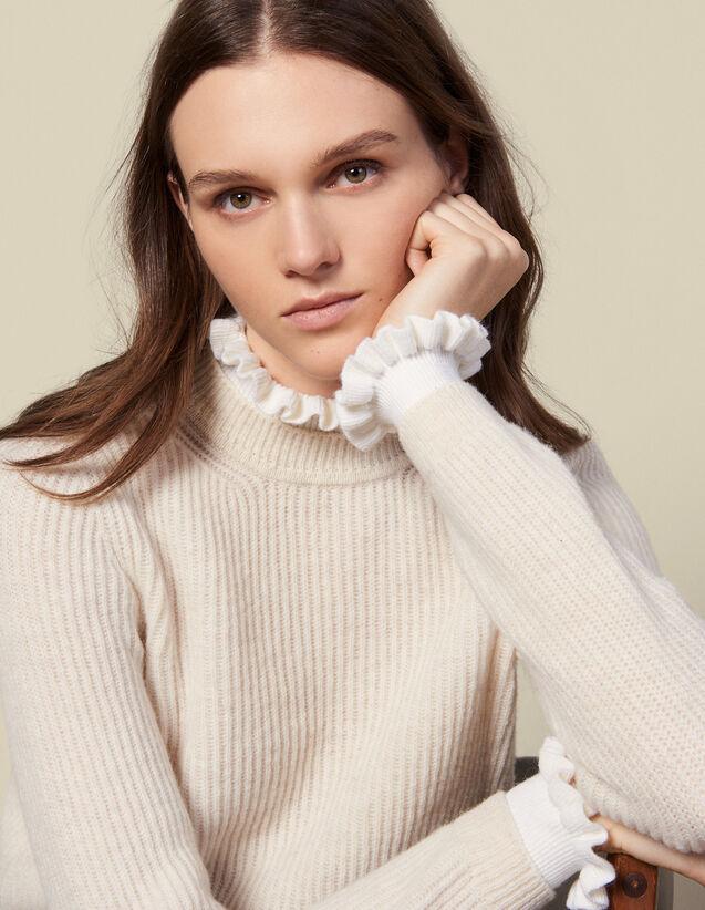 Pull à col et poignets contrastants : Pulls & Cardigans couleur Beige