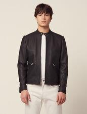 Blouson En Cuir Zippé : Blousons & Vestes couleur Noir