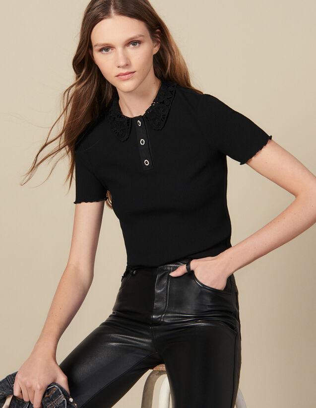 Polo côtelé à col en guipure : T-shirts couleur Noir