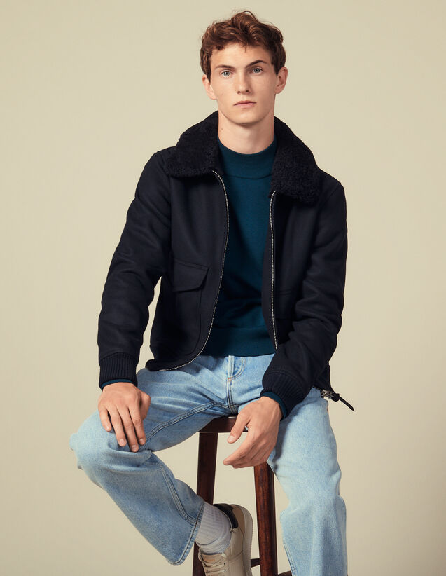 Blouson aviateur col mouton : Blousons & Vestes couleur Marine