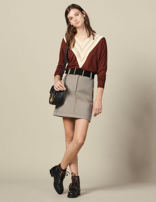 Pull À Encolure En V Effet Dentelle : Pulls & Cardigans couleur Brown