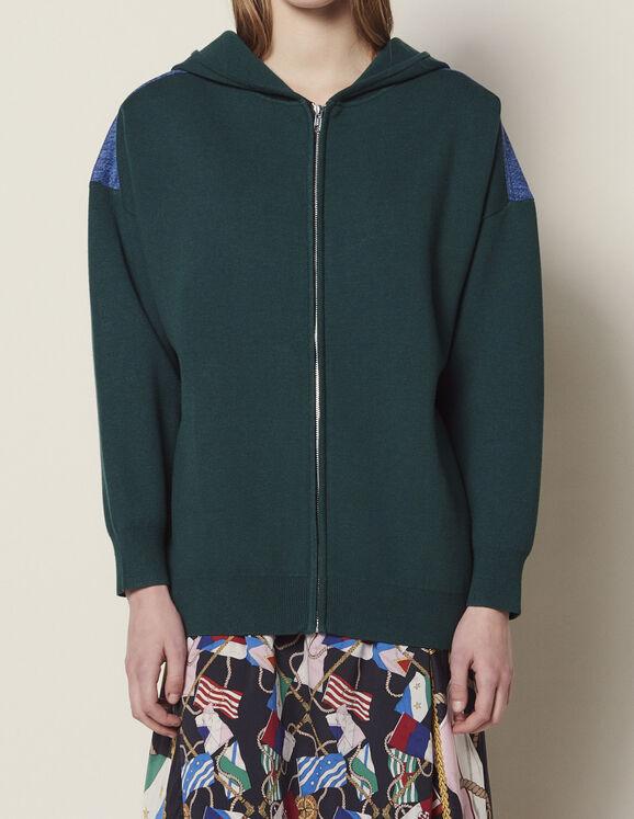 Cardigan Hoodie Bi-Matière : Toute la sélection couleur Vert