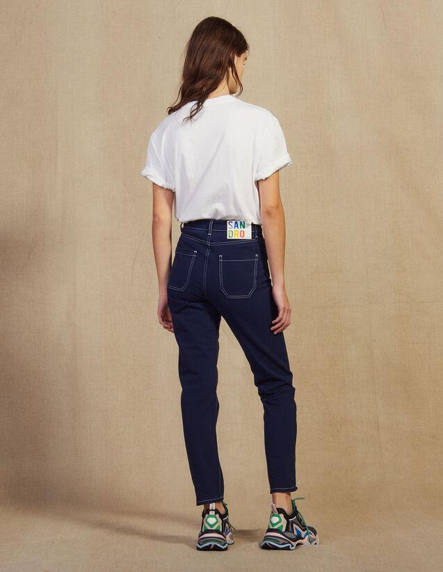 Jean À Coutures Contrastées : Jeans couleur Marine