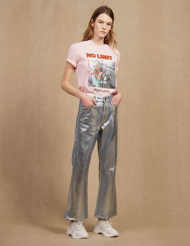 Jean Évasé Taille Haute Enduit : Jeans couleur Argent