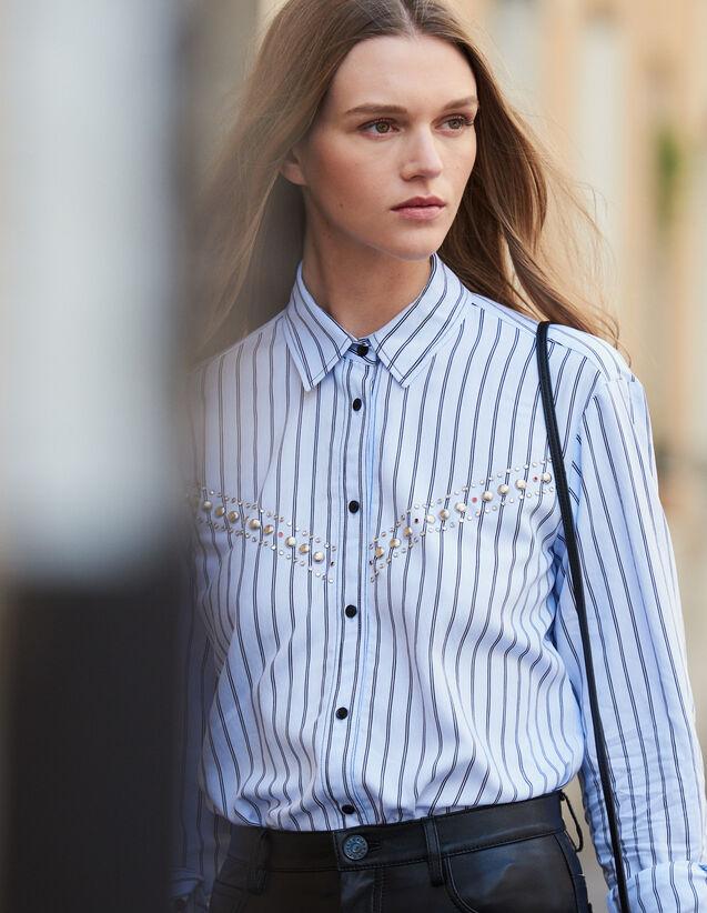 Chemise En Popeline Rayée : Tops & Chemises couleur Ciel