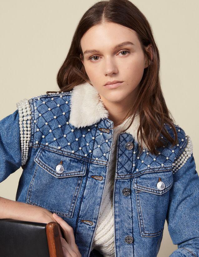 Veste en jean ornée de perles : Blousons & Vestes couleur Bleu jean