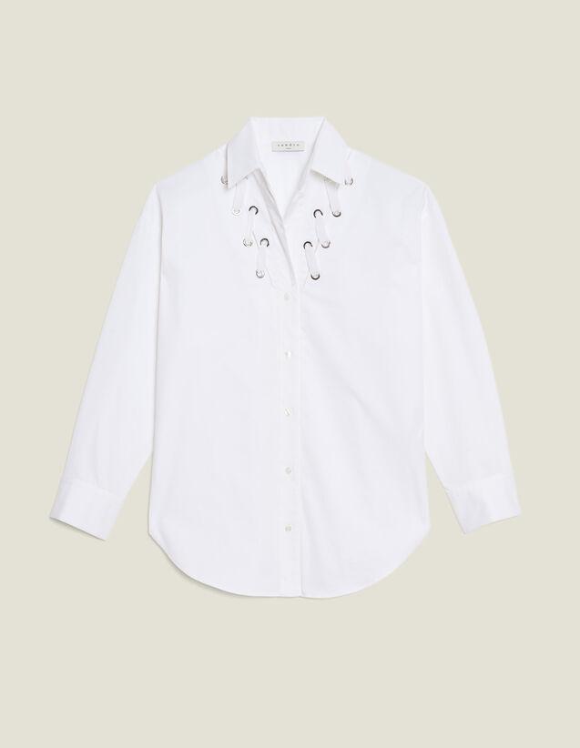 Chemise Décolletée Ornée D'Œillets : Tops & Chemises couleur blanc