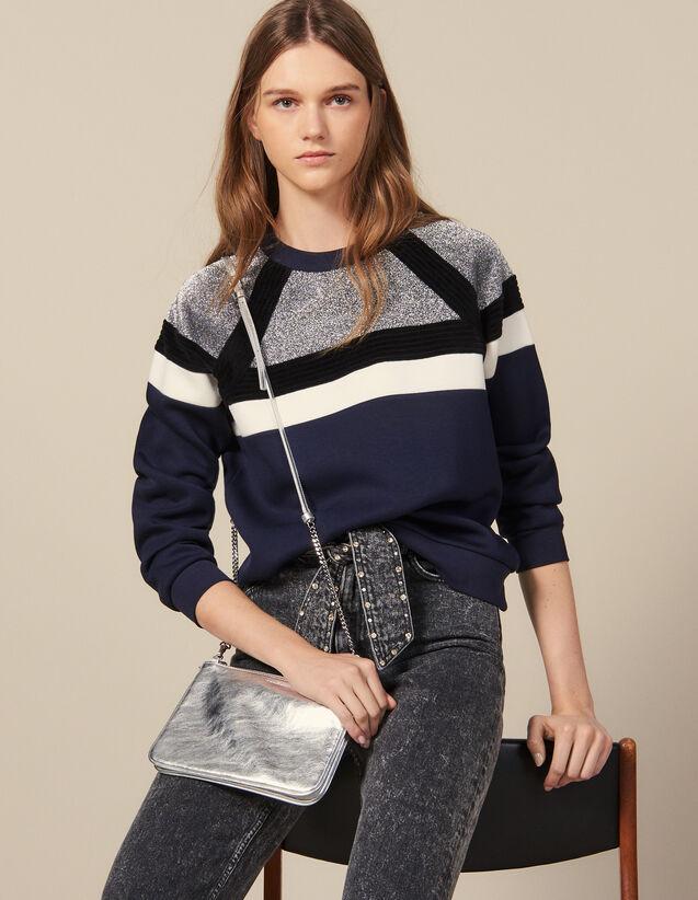 Sweatshirt avec jeu de rayures : Sweats couleur Marine