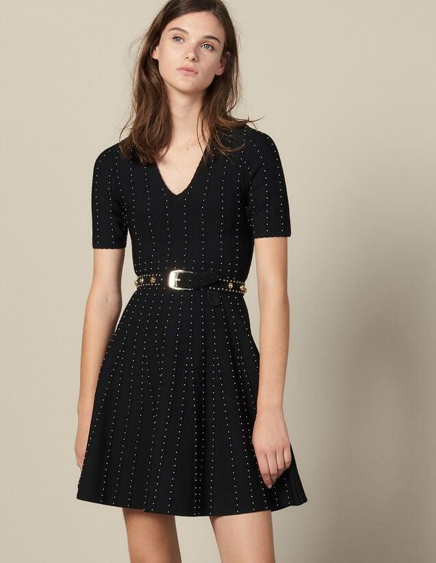 Robe En Maille Ornée De Petites Perles : Robes couleur Noir