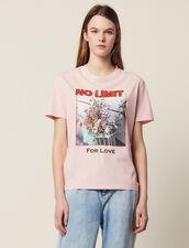 T-Shirt À Message Avec Iconographie : T-shirts couleur Rose
