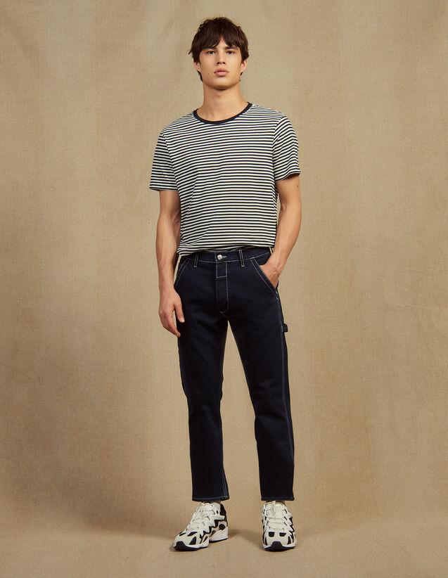 Pantalon En Denim Avec Surpiqures : Jeans couleur Blue Night - Denim