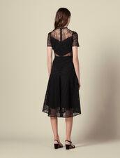 Robe longue en guipure : Robes couleur Noir