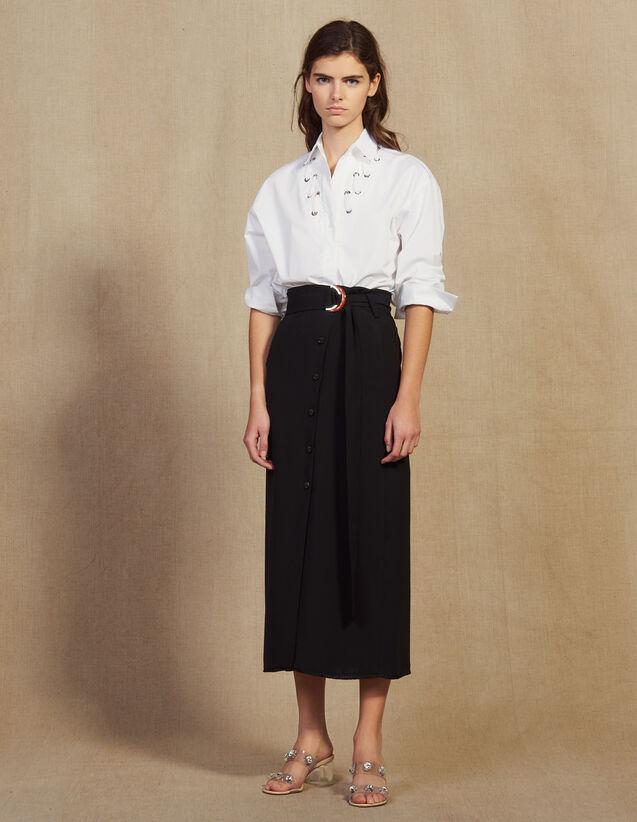 Jupe Longue Portefeuille : Jupes & Shorts couleur Noir