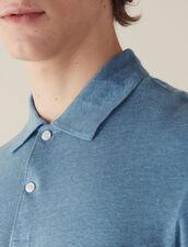 Polo À Manches Courtes En Lin : T-shirts & Polos couleur Bleu clair