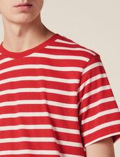 T-Shirt À Rayures Contrastantes : T-shirts & Polos couleur Rouge