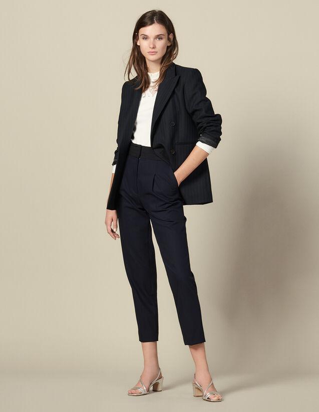 Pantalon droit à ceinture smoking : Pantalons couleur Marine