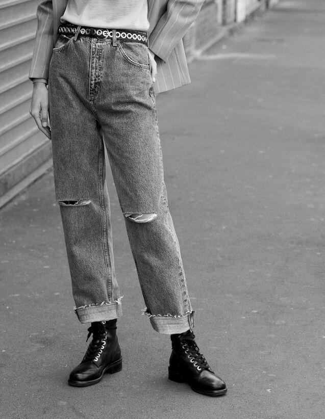 Jean Coupe Droite À Taille Haute : Toute la sélection couleur Blue Vintage - Denim