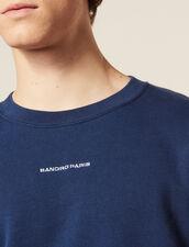 Sweat Avec Broderie Logo : SOLDES-CH-HSelection-PAP&ACCESS-2DEM couleur Bleu Acier