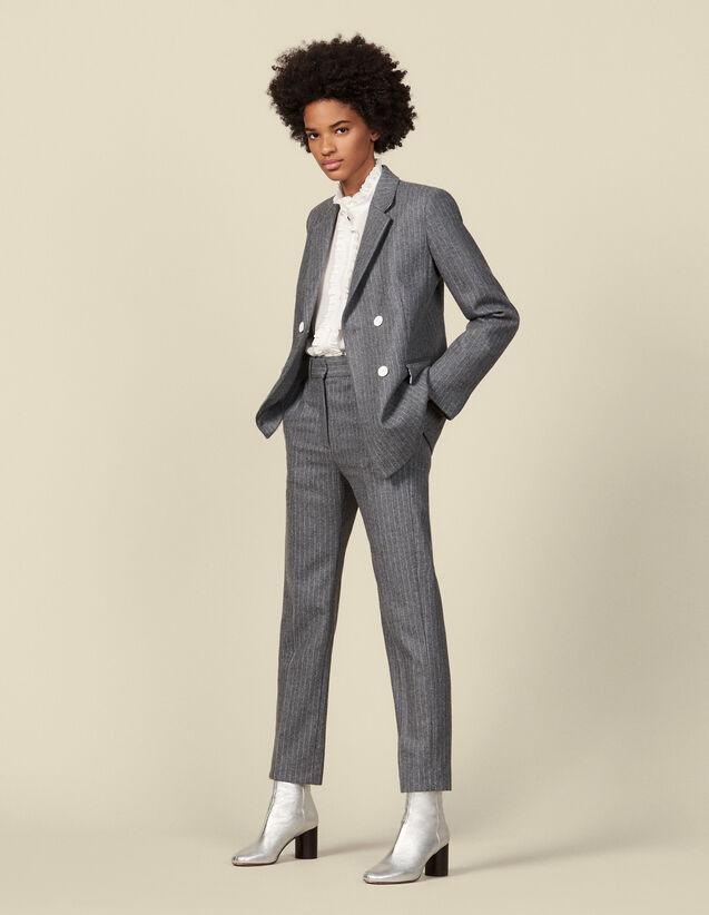 Pantalon en flanelle à rayures tennis : Pantalons couleur Gris